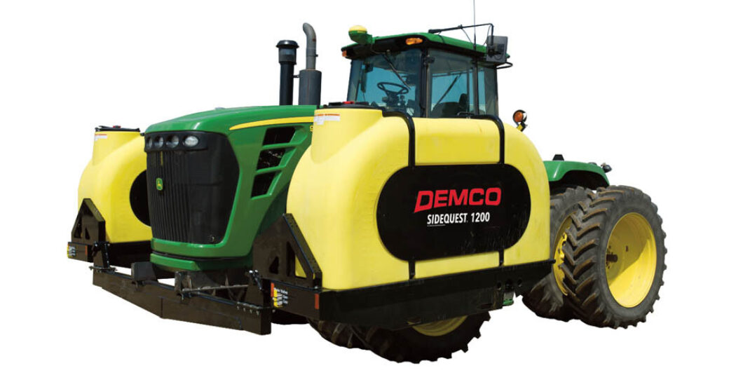 1200 gallon fertilizer tanks mounted on 4WD green tractor