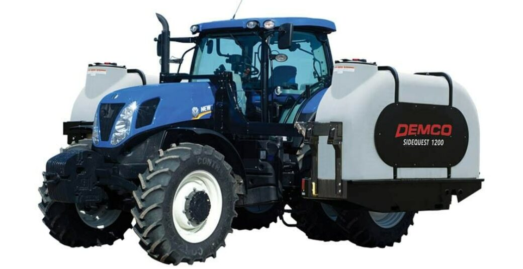 Fertilizer tanks mounted on blue tractor