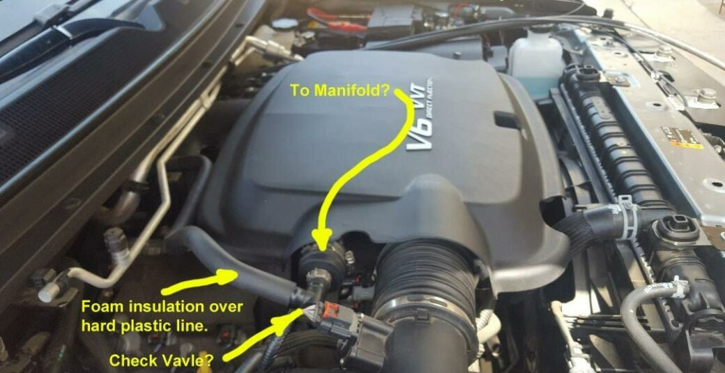 2018 Colorado Vacuum Line with Engine Cover in Place