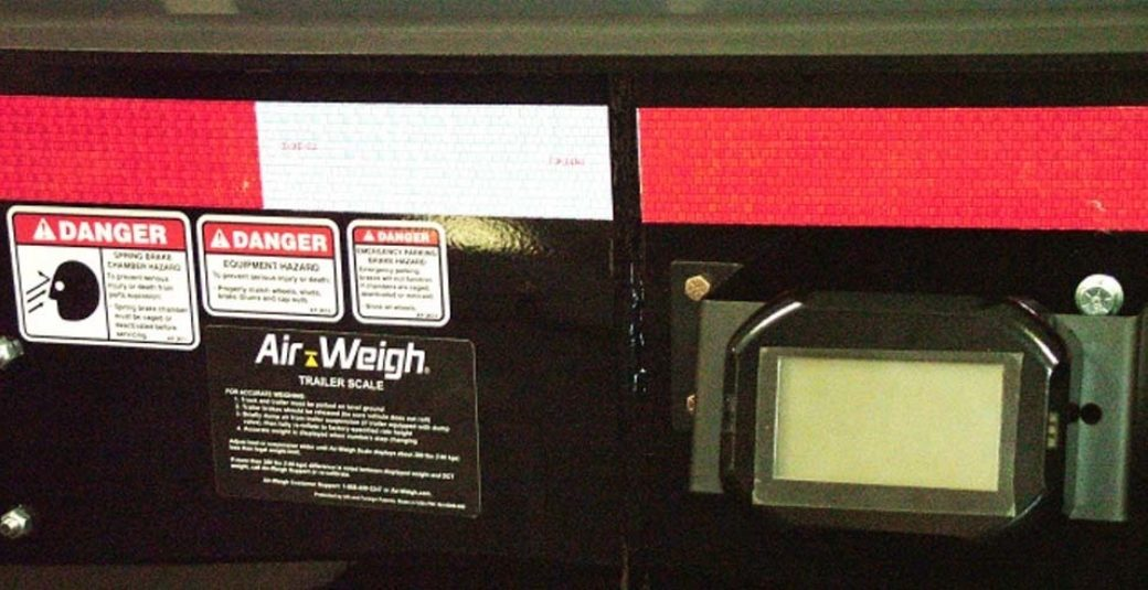 Air-Weigh scale system of a side dump trailer
