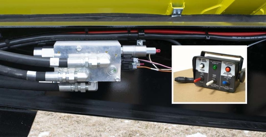 EOH valve and control box for side dump trailer