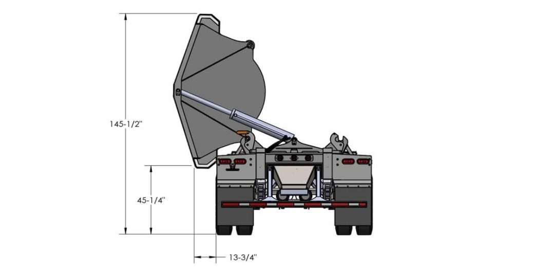 Diagram of a side dump trailer
