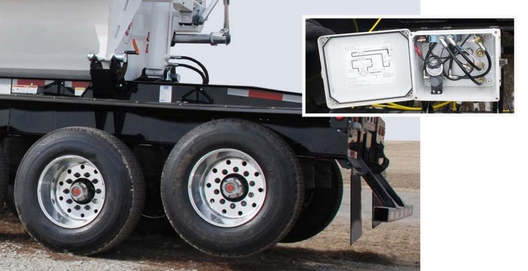 Lift axle and control box for side dump trailer