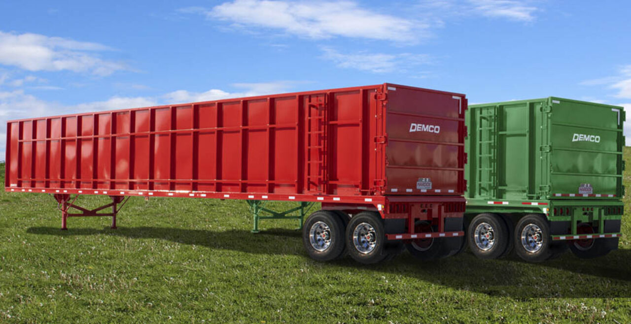 Red and green scrap trailers