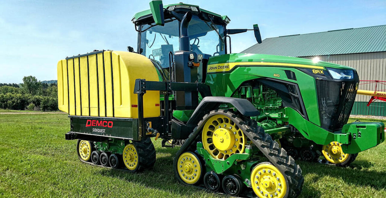 Demco Tractor Mounted Tanks on John Deere 8RX tractor