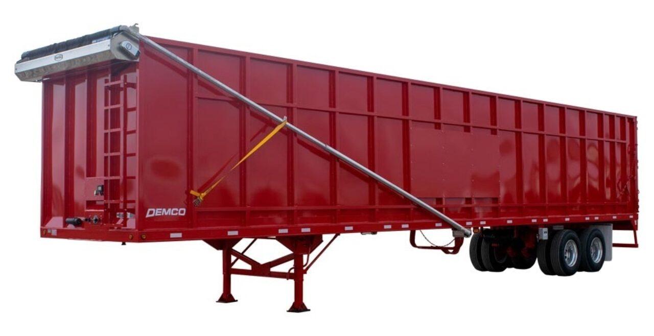 Red gondola scrap trailer