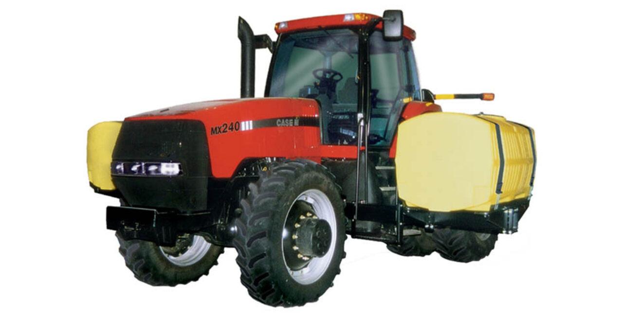 Fertilizer tanks on inline tractor